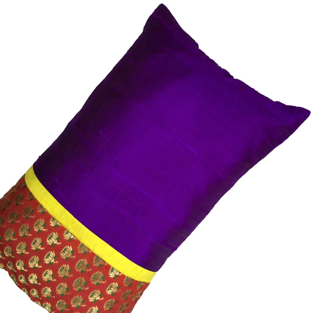 Red and Purple colorblock pure silk horizontal cushion cover