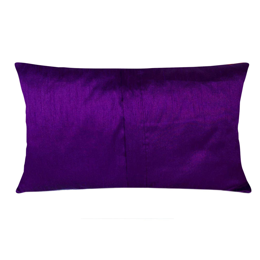 Orange and Purple Damask Raw Silk Lumber Pillow Cover