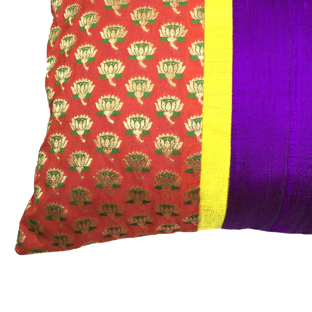 Handmade Red Purple and Gold Floral Silk Pillow Cover By DesiCrafts