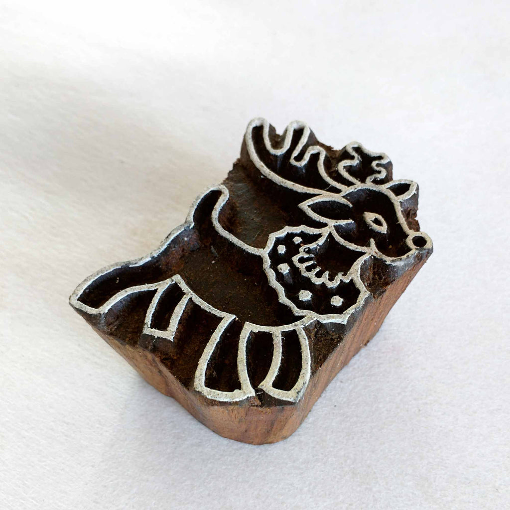 Reindeer Wooden Stamp for Printing