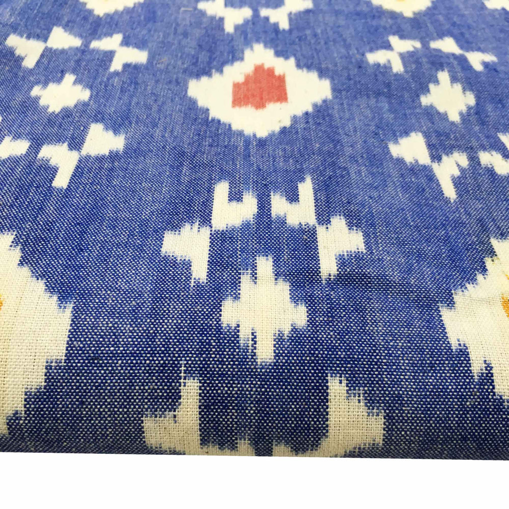 Blue Upholstery Weight Ikat Cotton Fabric