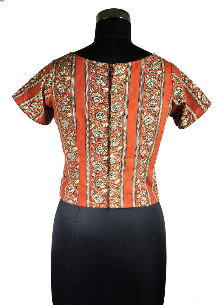Rust and Beige Floral Stripes Cotton Top