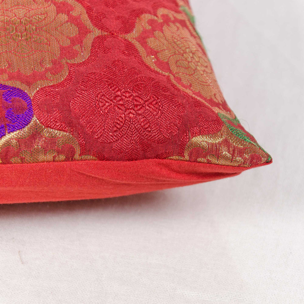 multicolored silk pillow cover