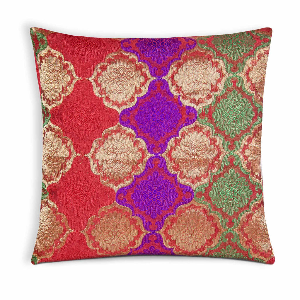 damask weaving pillow cover in red gold green