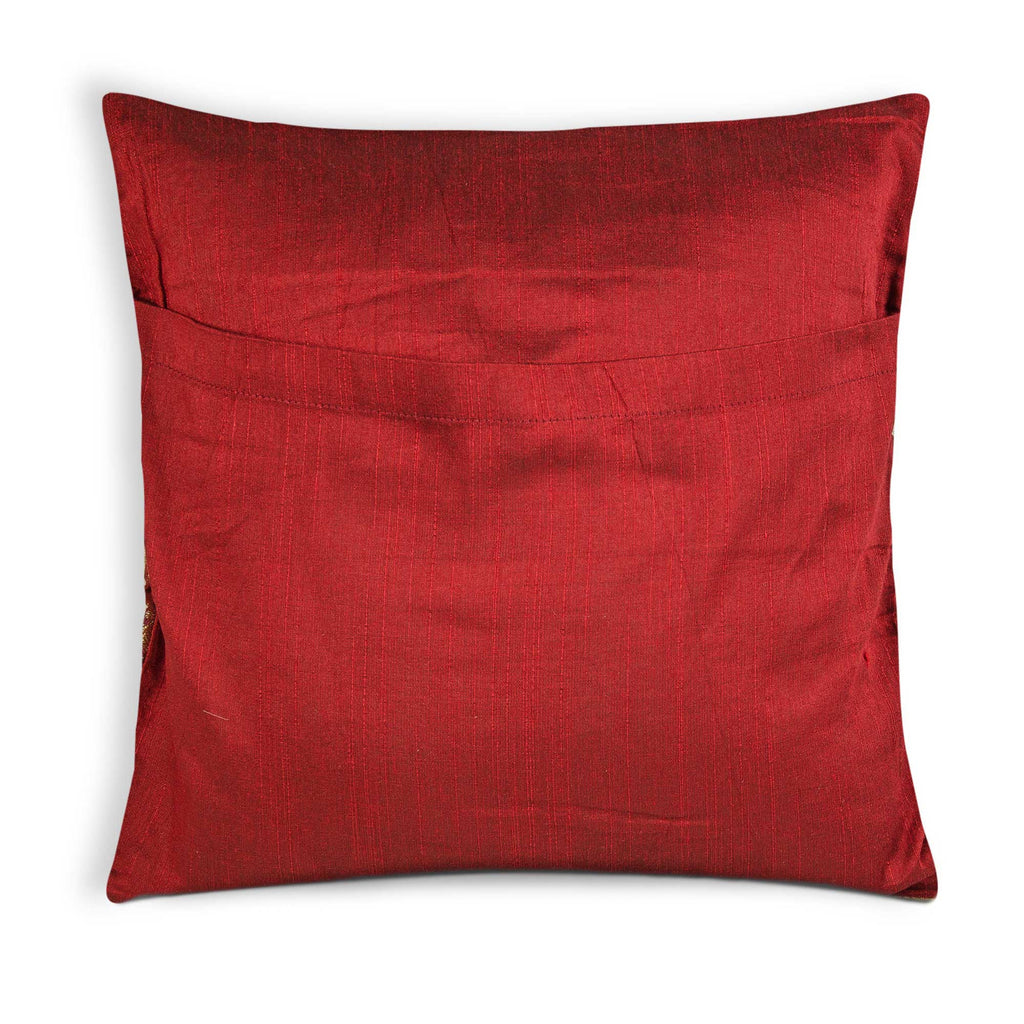 envelope style pillow cover in red and gold