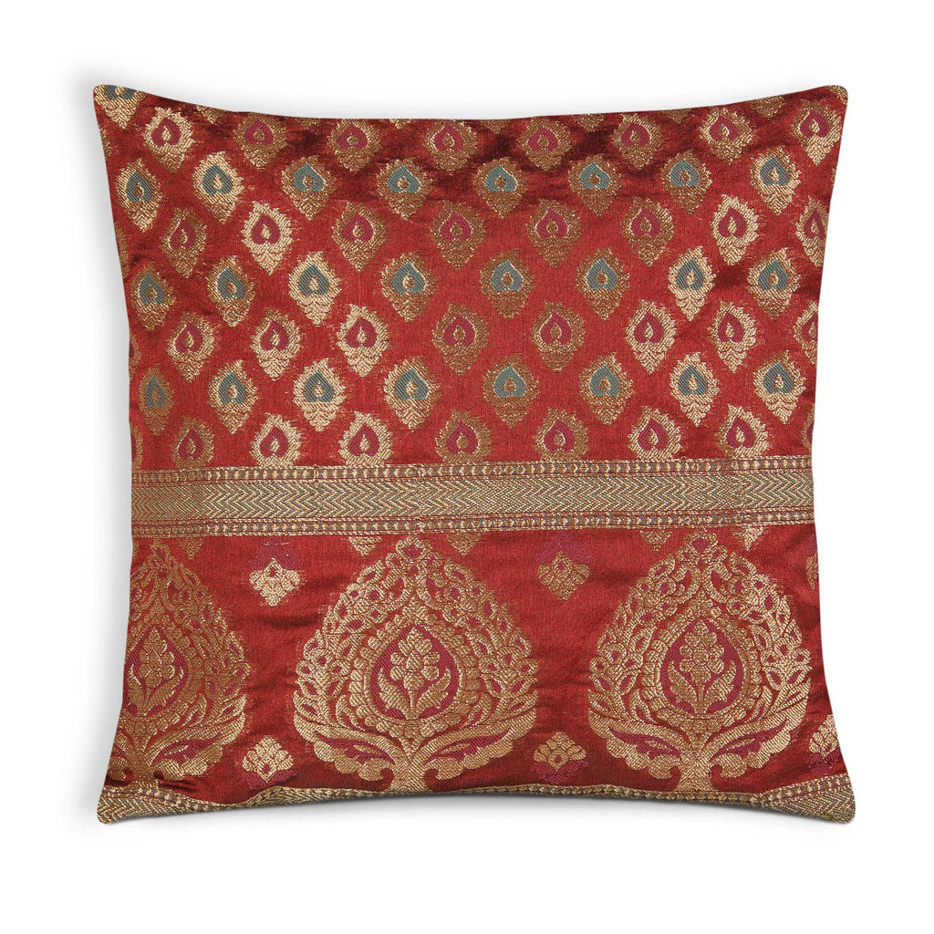 red and gold silk pillow cover