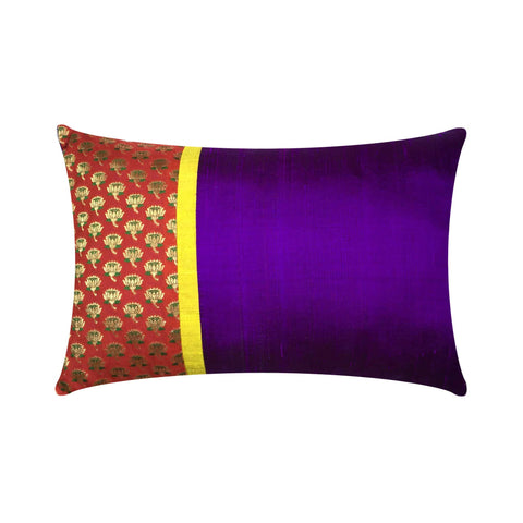Red Purple and Gold Floral Silk Pillow Cover
