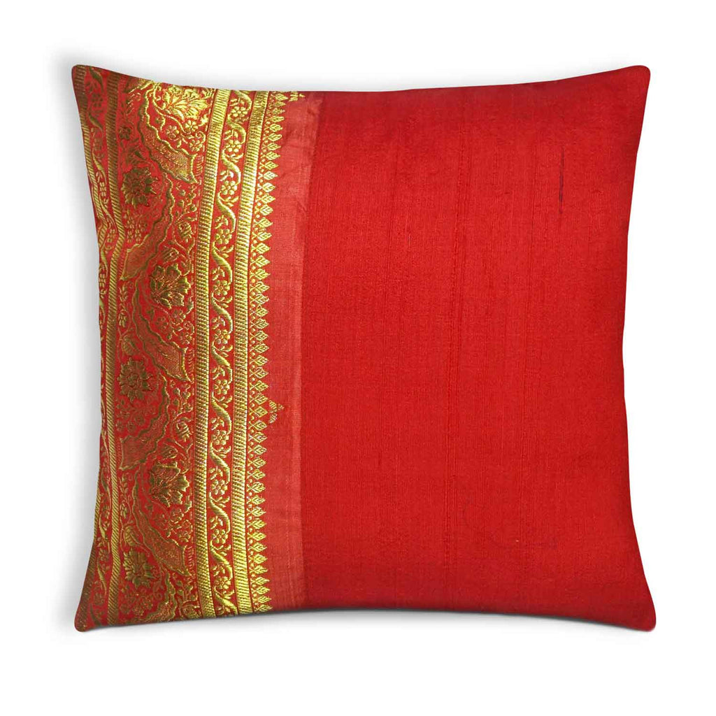 Red and Gold Sari Silk Pillow Cover