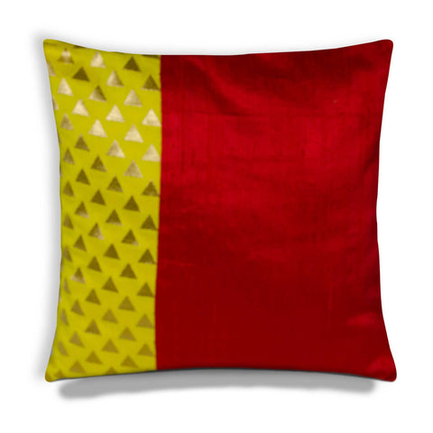 Yellow Red Gold Triangle Banaras Silk Pillow Cover