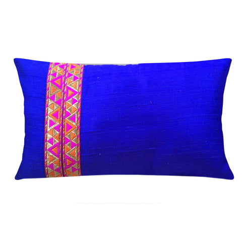 Royal blue and hot pink silk pillow cover buy online from DesiCrafts