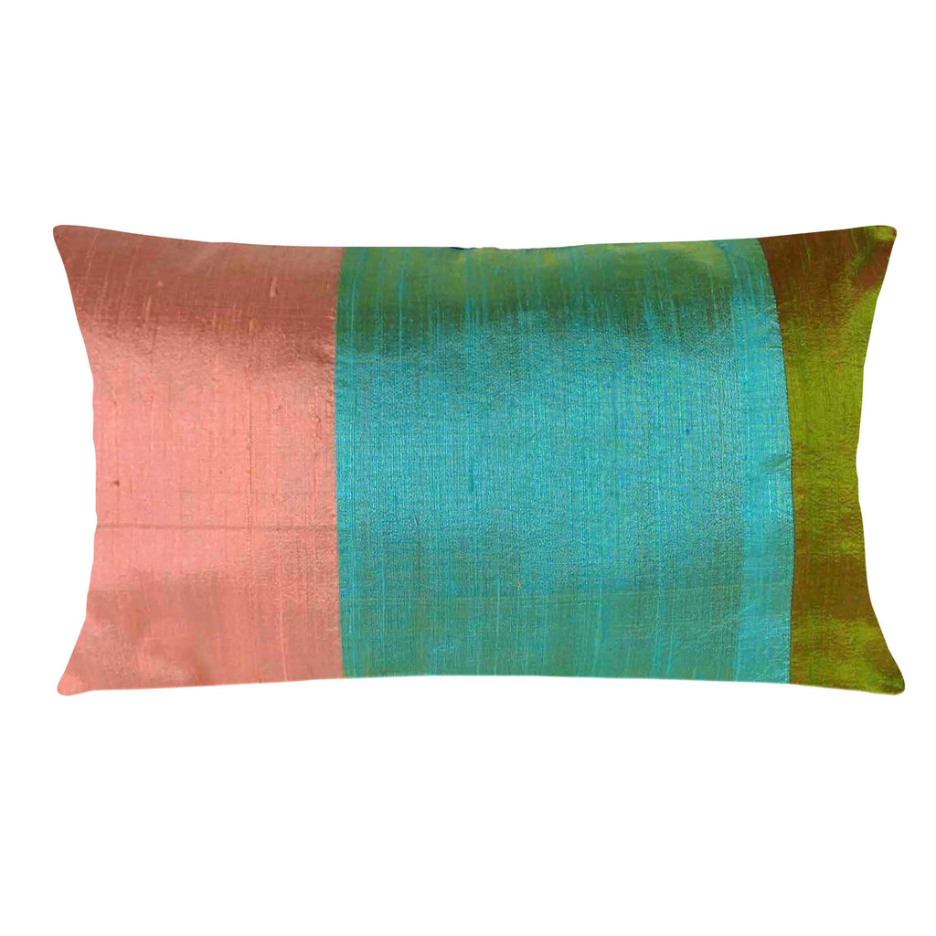 Rose and mint burlap weaving silk pillow cover buy online from DesiCrafts