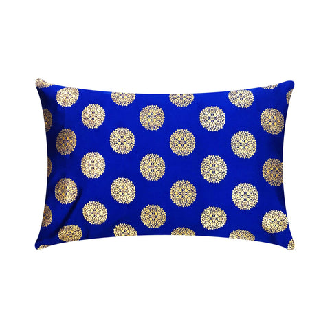Blue and Gold Banarasi Silk Lumbar Pillow Cover