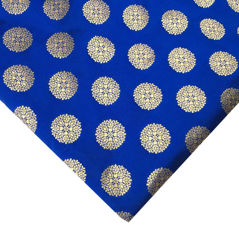 Royal Blue and Gold Mandala Banaras Jacquard Silk Fabric