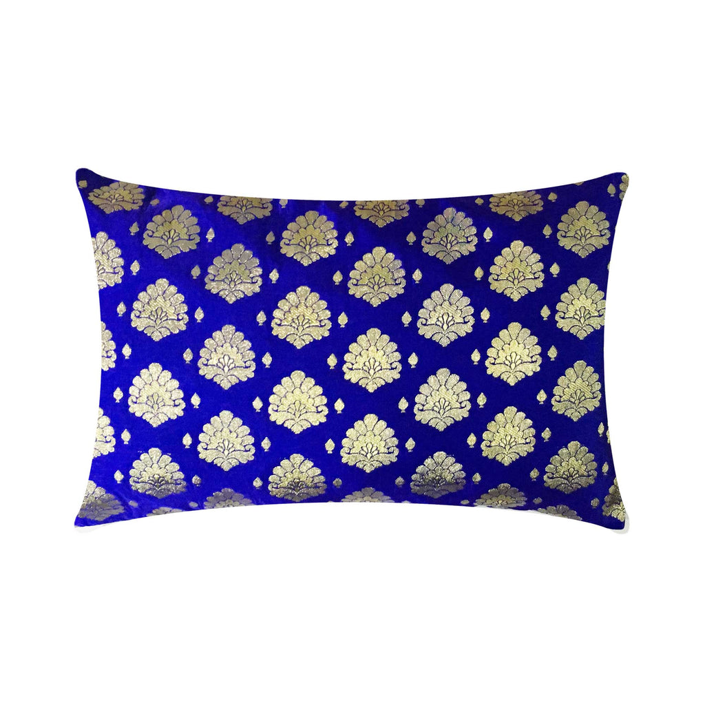 Sari Silk Royal Blue Lumbar Pillow Cover