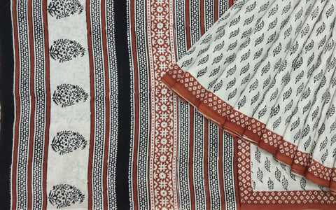 DesiCrafts black and red block printed dabu cotton sari