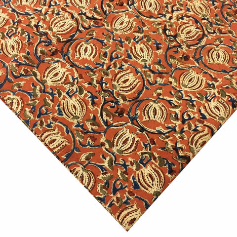 Rust and Blue Lotus Print Rust Kalamkari Fabric