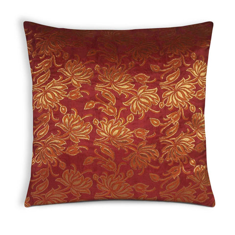 Rust and Gold lotus silk pillow cover buy online from DesiCrafts