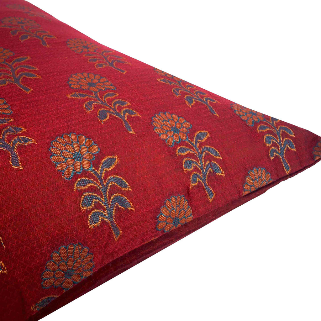 Maroon and teal Jacquard pillow cover buy online from Desicrafts
