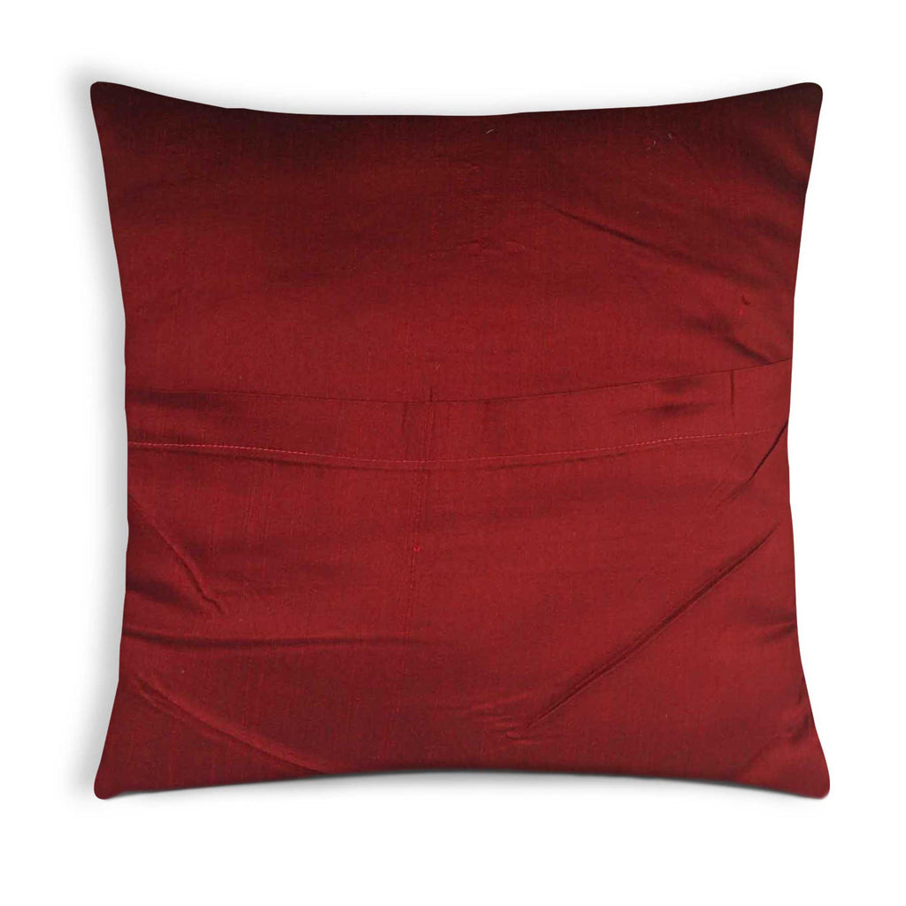Maroon and teal jacquard pillow cover buy online from India