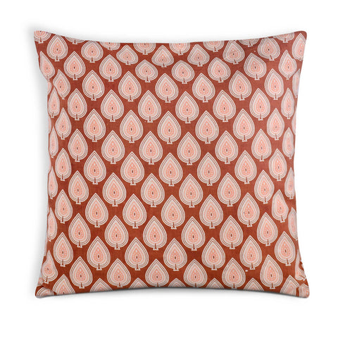 Rust and White Cotton Cushion Cover