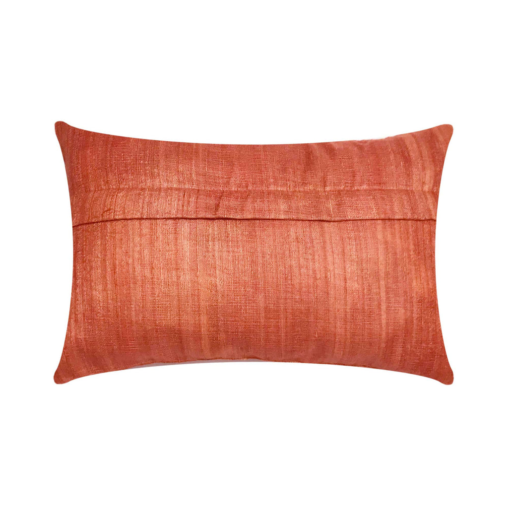Salmon Pink Tussar Silk Cushion Cover By DesiCrafts