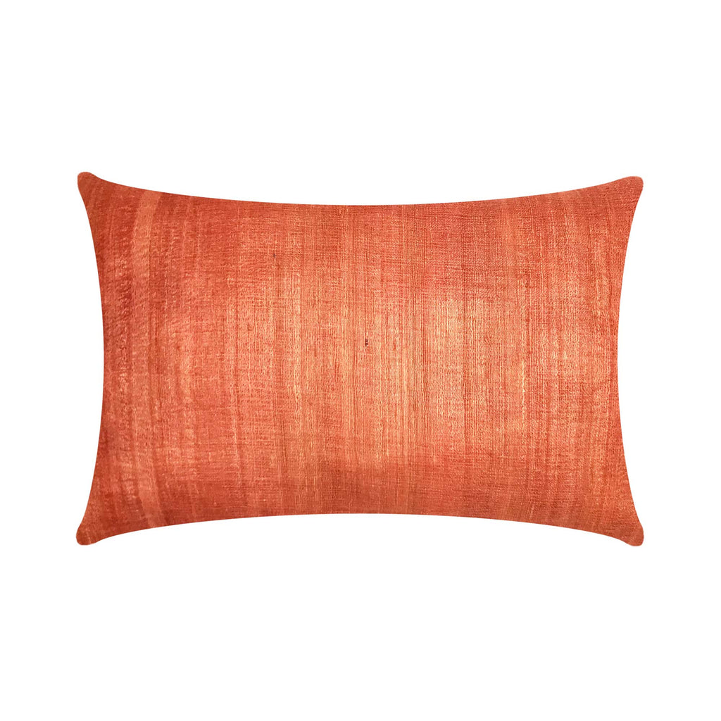 Salmon Pink Tussar Silk Cushion Cover