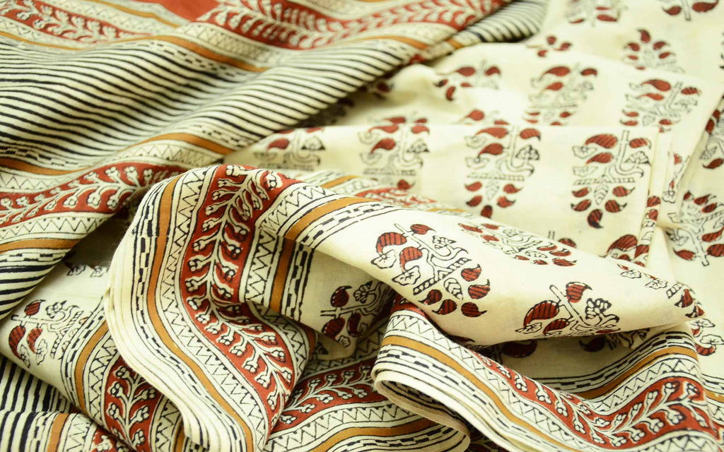 Handmade Beige Rust Block Printed Dabu Cotton Sari