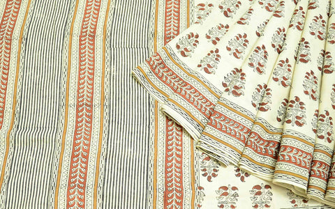 Beige Rust Block Printed Dabu Cotton Sari