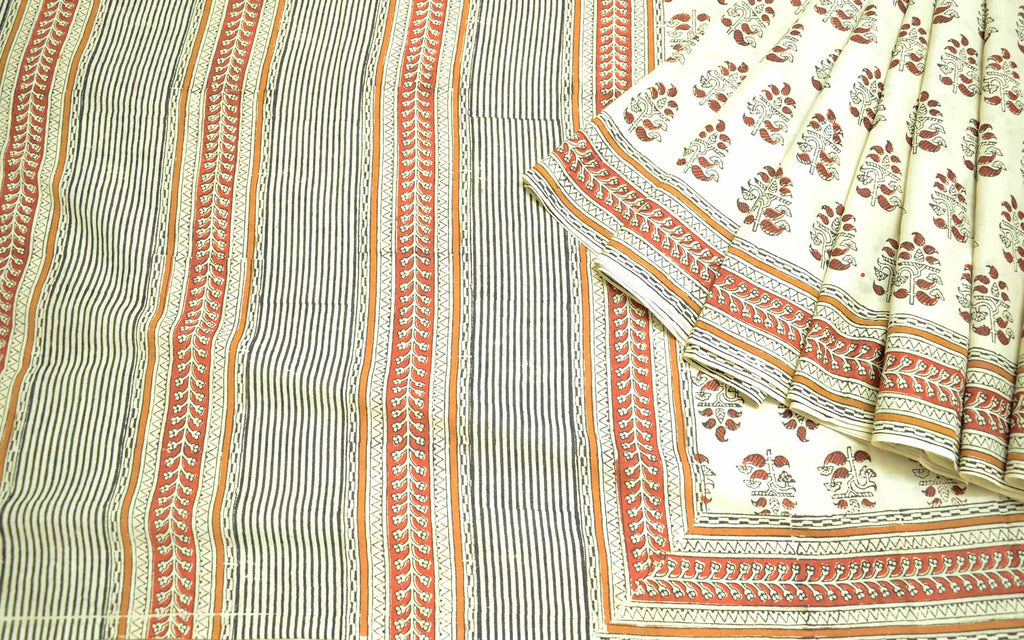 Soft Cotton Dabu Sari by DesiCrafts