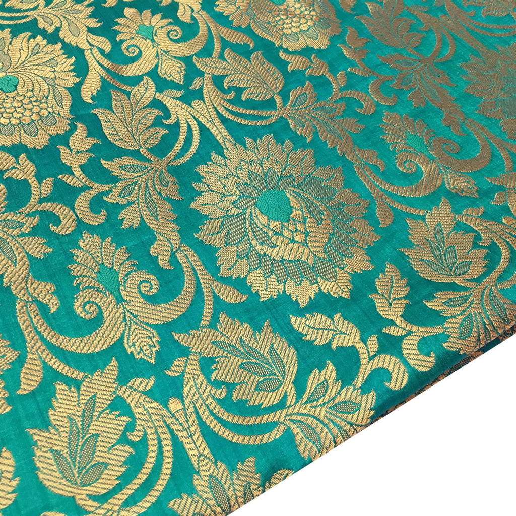 Sea Green and Gold Pakijah Banaras Silk Fabric