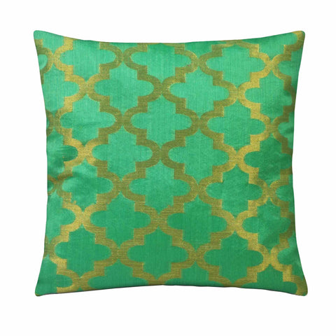 Teal and Gold Chanderi Silk Pillow Cover Buy Online from DesiCrafts