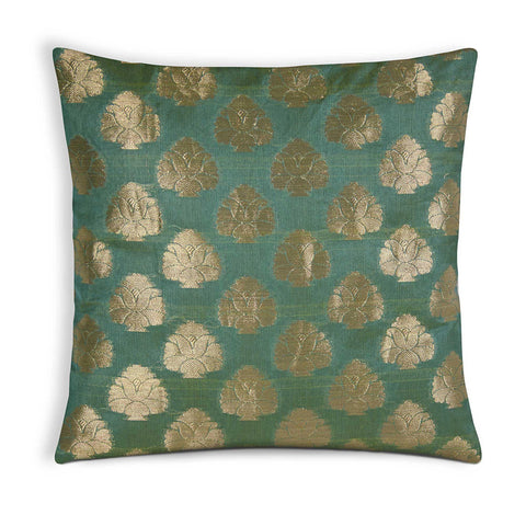Green and Gold Floral Chanderi Silk Pillow Cover