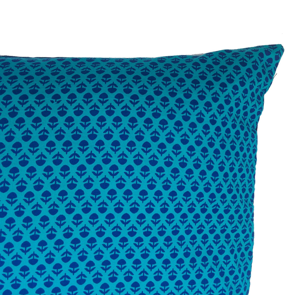 Teal and Navy cotton pillow cover buy online from India