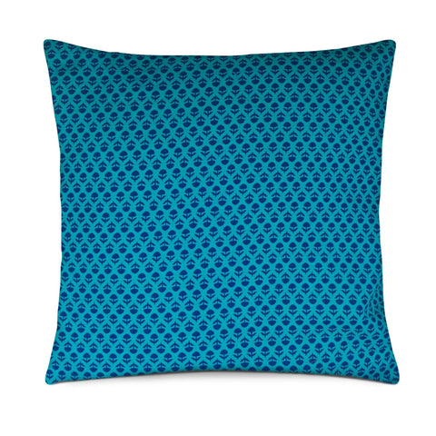 Teal and Navy cotton pillow cover buy online from DesiCrafts