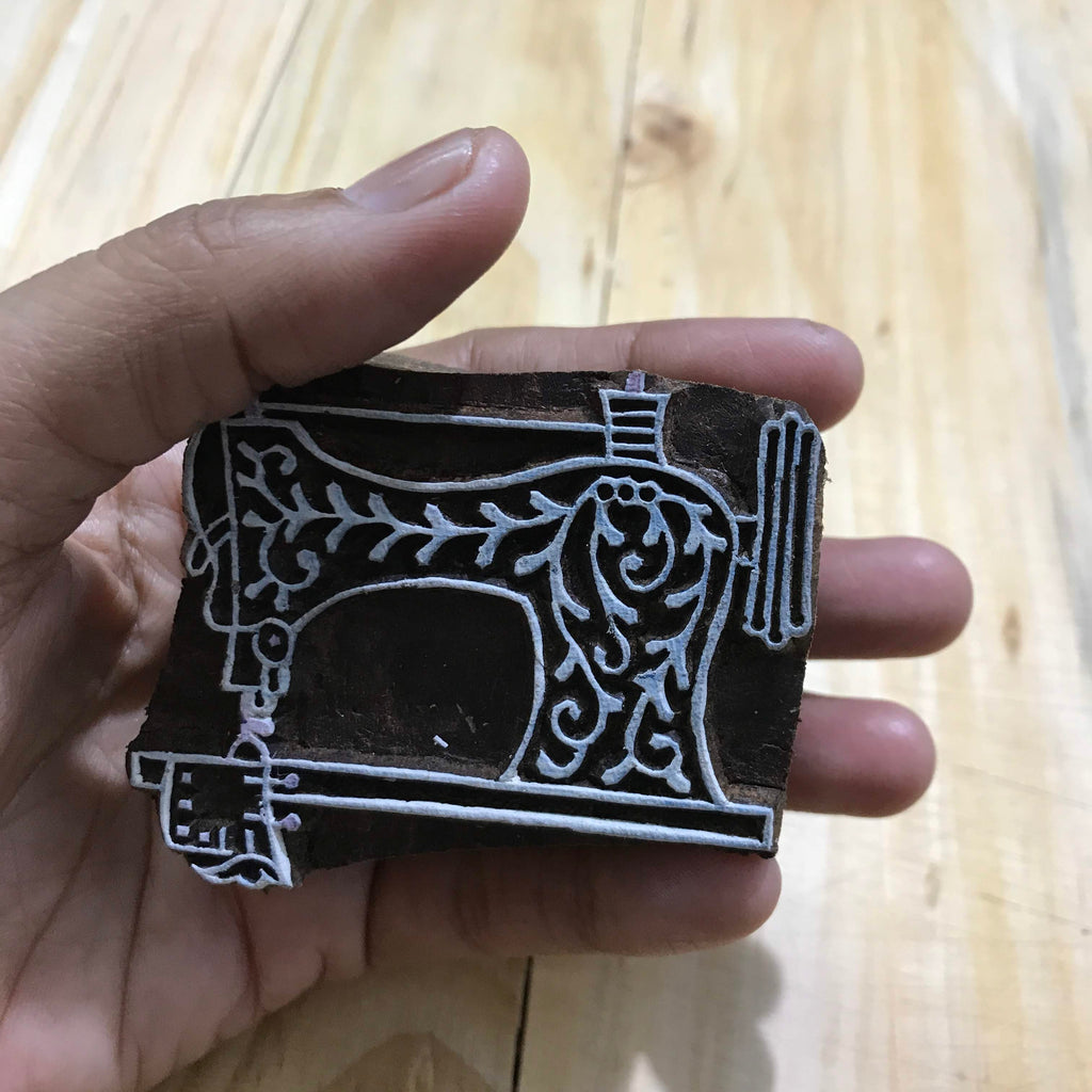 Sewing Machine Hand Block Printing Wooden Stamp