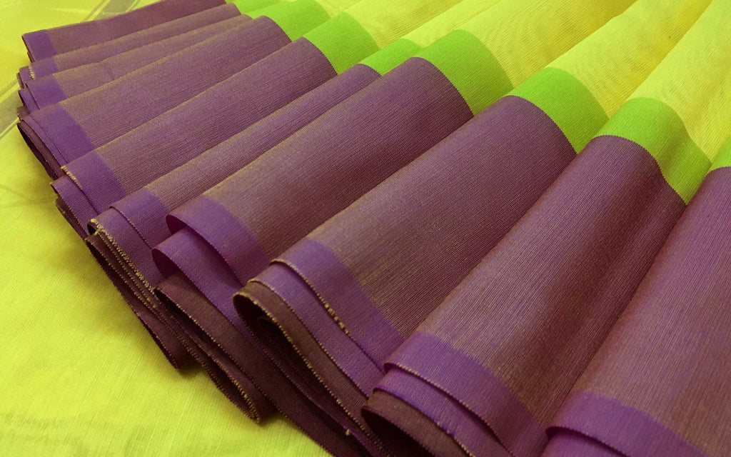 Chartreuse and Rust Handwoven Silk Cotton Sari