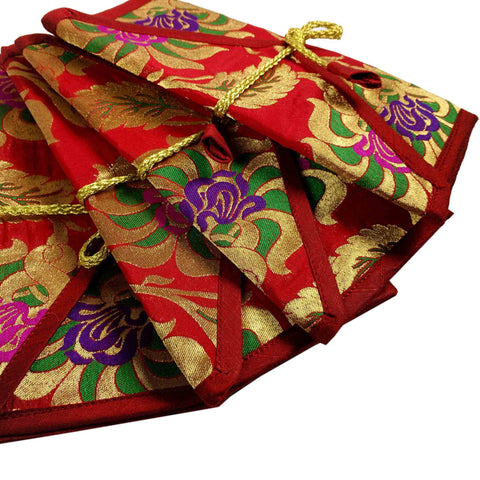 Set of 5 Red Gold Silk Fabric Gift Envelopes
