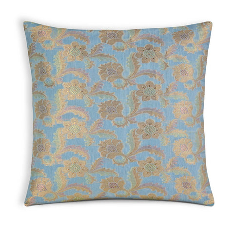 Sky and Gold Chanderi silk pillow