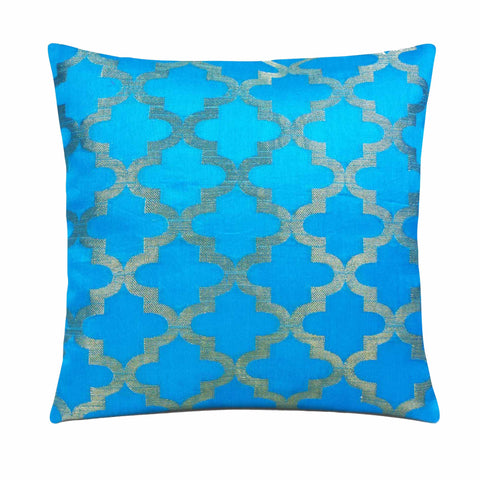 Sky blue and gold silk pillow cover buy online from DesiCrafts