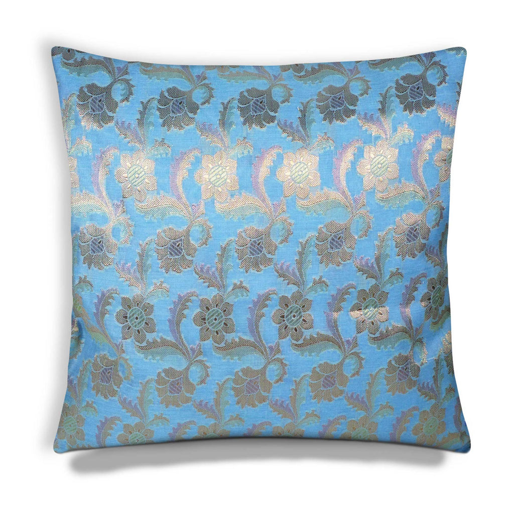 Sky and Gold Silk Pillow Cover