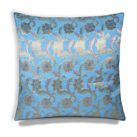 Sky Blue and Gold Chanderi Silk Cushion Cover Buy online from India
