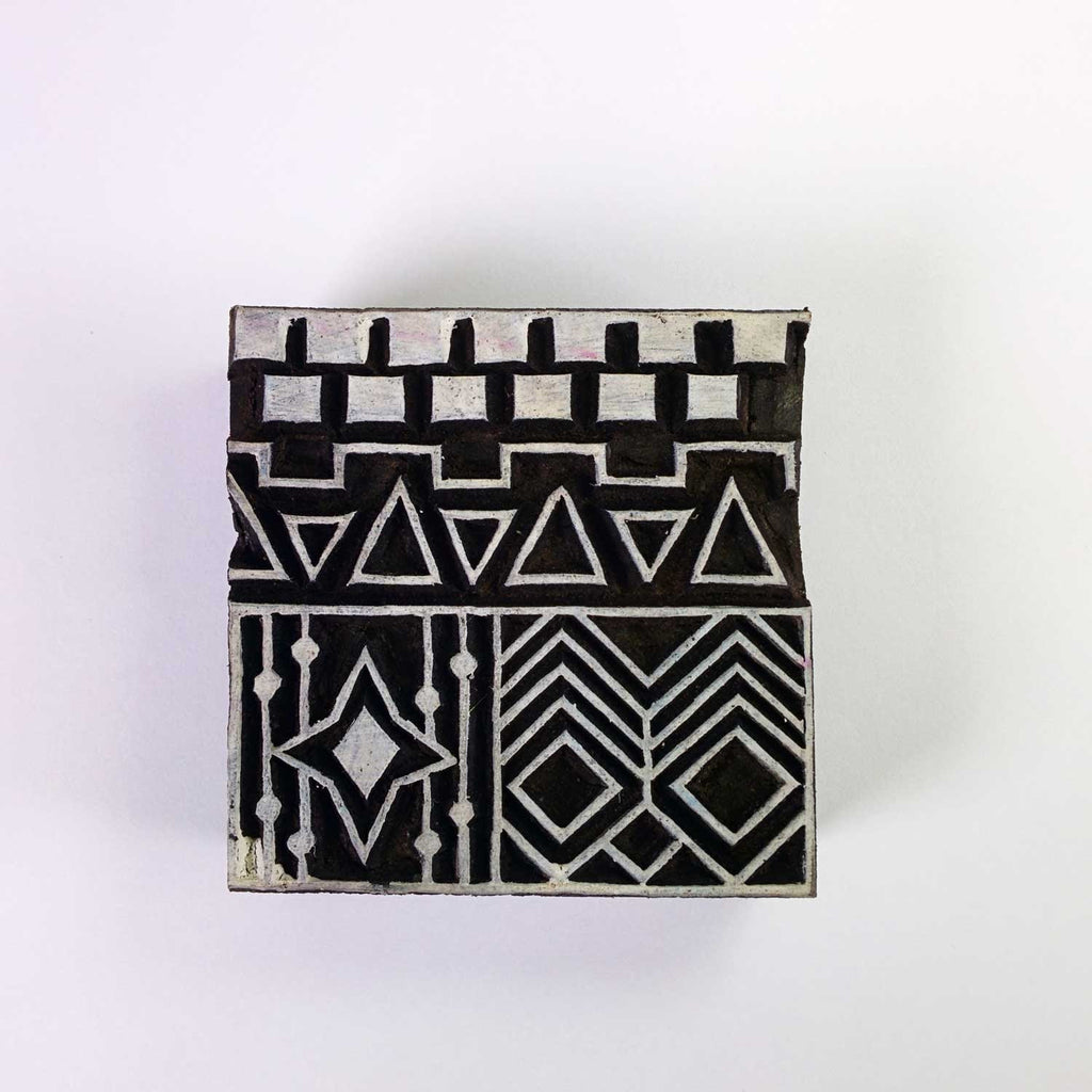 Tribal Pattern Square Wooden Stamp