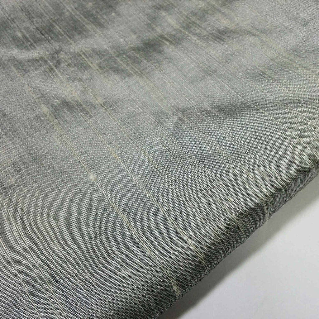 handwoven Steel Grey Raw Silk Fabric buy online from India