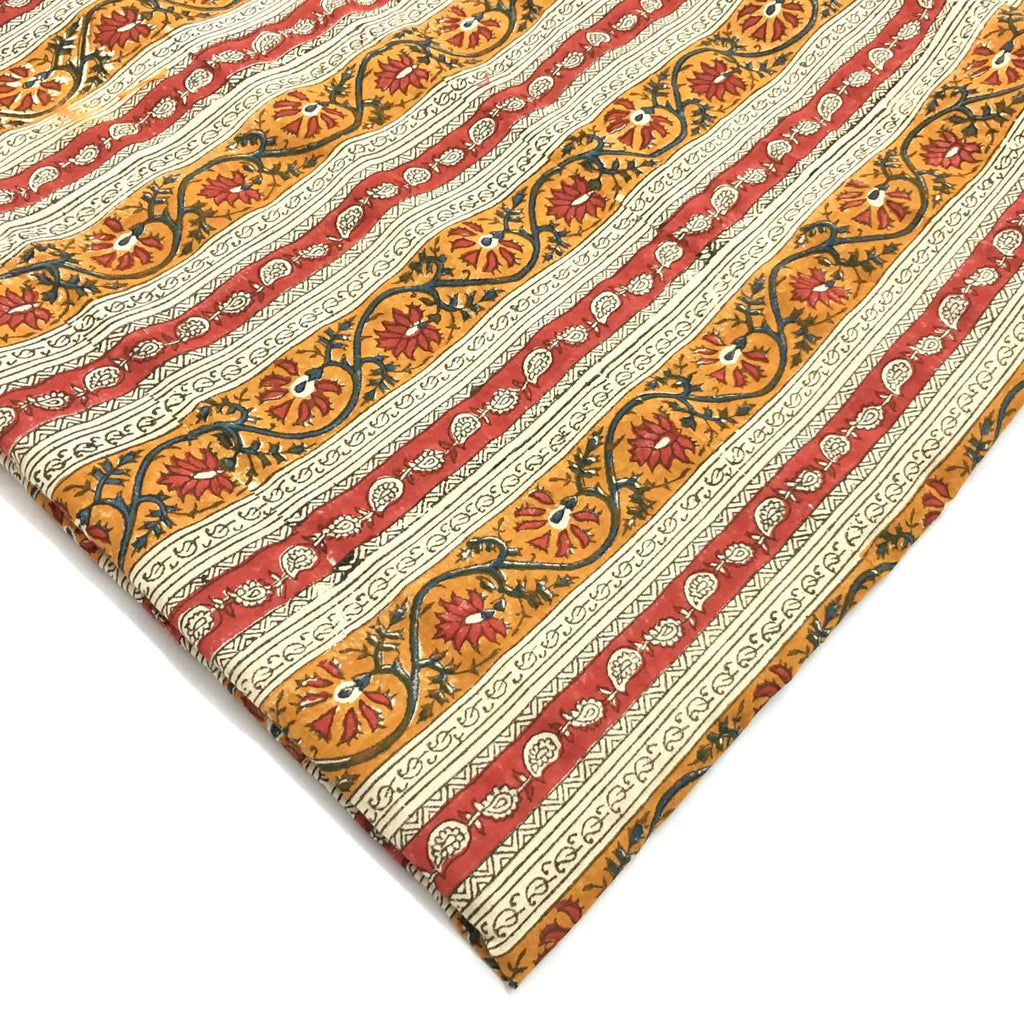 Striped Kalamkari Fabric in Red Blue and Mustard