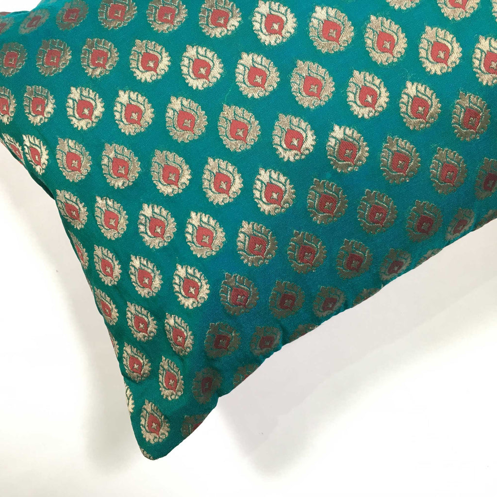 Teal and Mustard Embroidered Banarasi Silk Pillow Cover