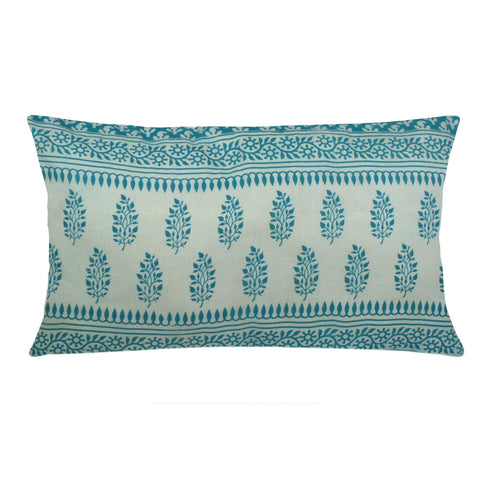 white and Teal Cotton Pillow Cover Buy Online From DesiCrafts