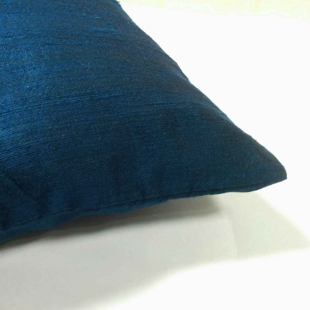 Teal Raw Silk Cushion Cover