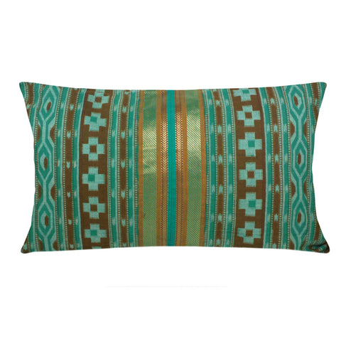 Teal and Gold Lumber Cotton Pillow Cover Buy Online From DesiCratfs
