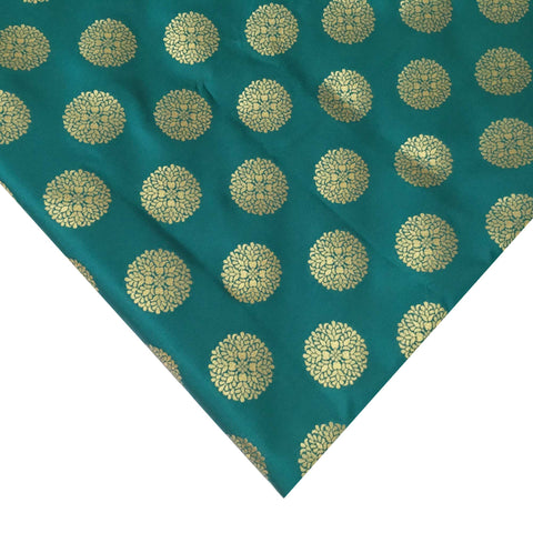 Teal and Gold Mandala Banaras Jacquard Silk Fabric
