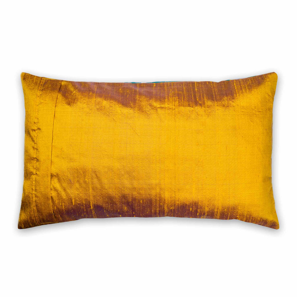 Teal and Mustard Pure Silk Lumbar Cushion Cover Buy Online from India
